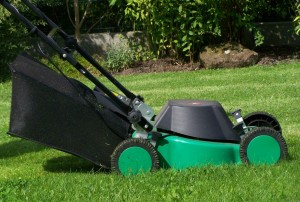 Rasenmäher im Garten.