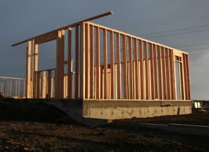 Baustelle eines Hauses.