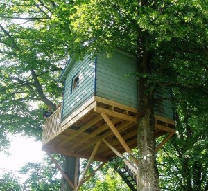 Baumhaus hoch oben im Baum.