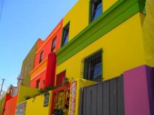 Bunte Hausfassade in Bo Kaap, Kapstadt.