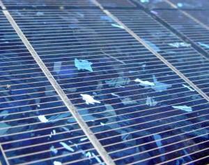 Sonnenkollektoren ind er Nahaufnahme.