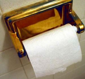 Rolle Toilettenpapier in einem goldenen Halter.