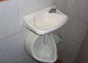 Zeitersparnis pur wenn man gleichzeitig die Hände waschen und die Notdurft verrichten kann.