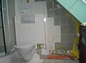 Hier wird ein Badezimmer saniert.